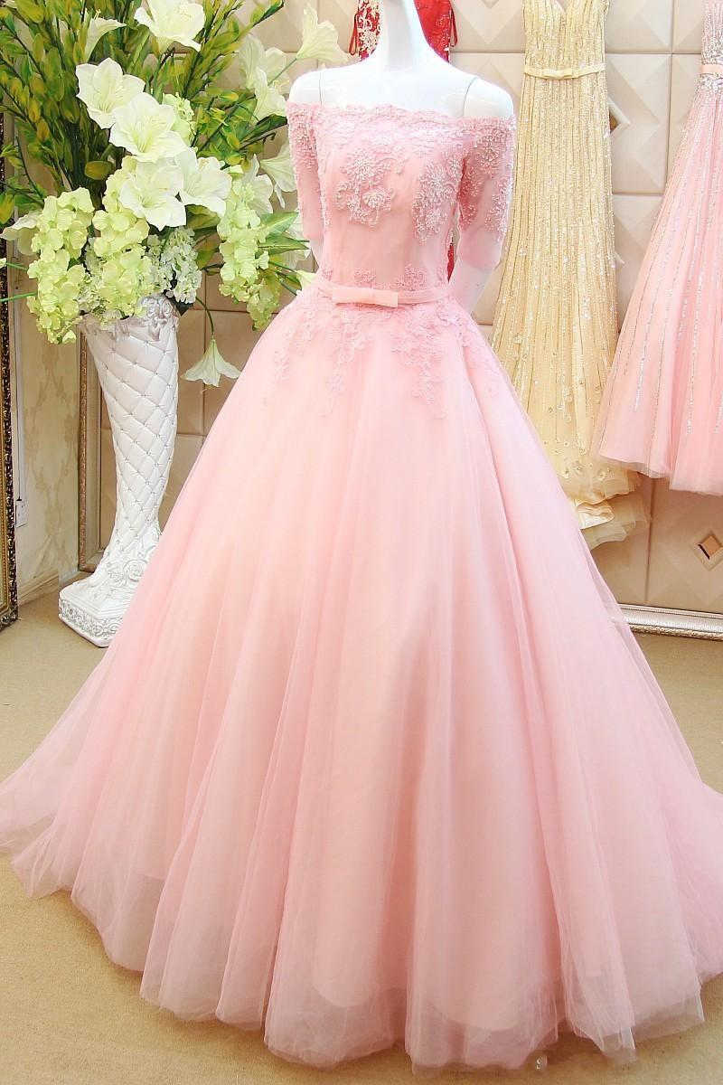 Elegant Long Pink Prom Dresses Sexy Boat Neck Half Sleeve Evening