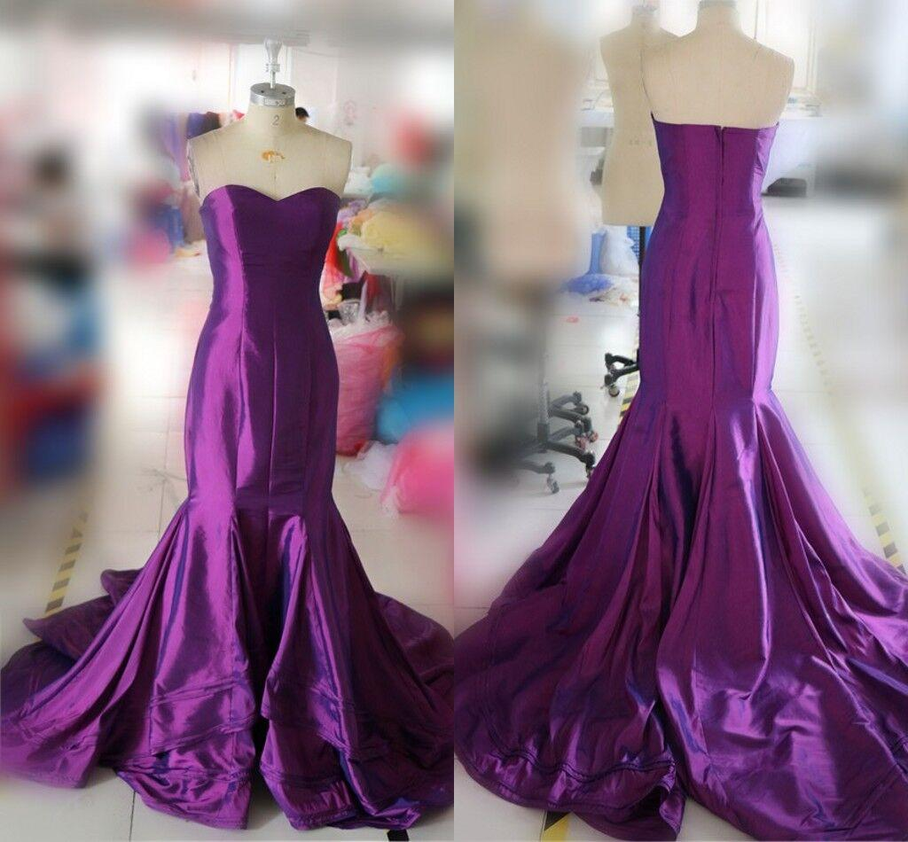 Elegant Long Purple Prom Dresses Sexy Sweetheart Mermaid Evening Dresses 2016 Real Photo Women Party Dresses Formal Gowns