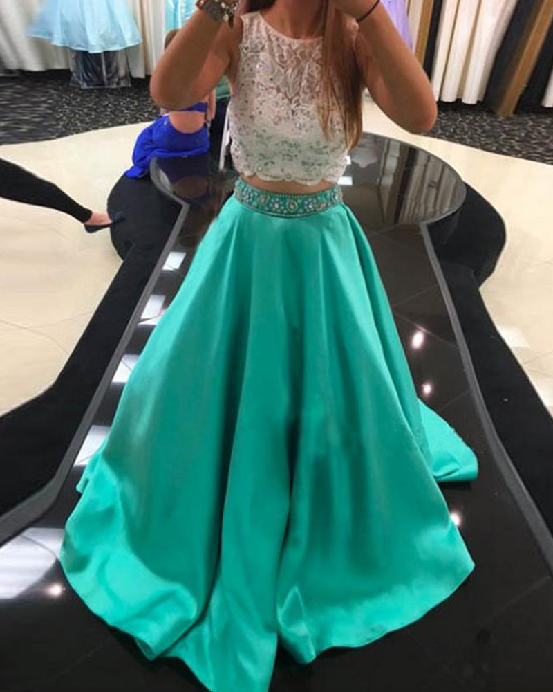 Turquoise Satin Gown