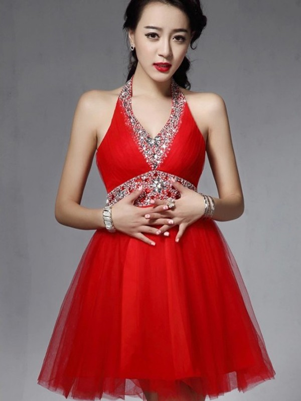 Elegant High Quality Short Length Red Prom Dresses, Halter Neck Tulle Prom Dresses, Short Prom Dress, Mini Prom Dress, Homecoming Dress