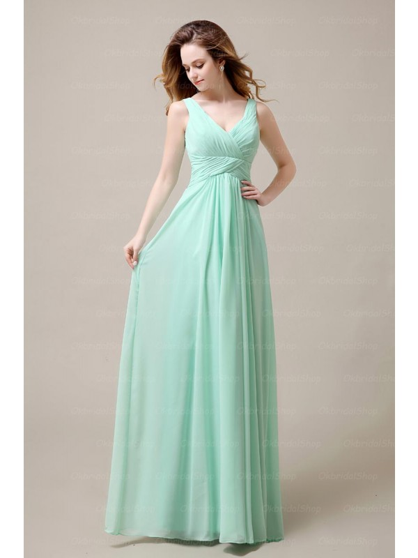 Lovely Mint Green Handmade Chiffon V Neck Prom Gown, Prom Gowns 2016, Formal Dresses 2016