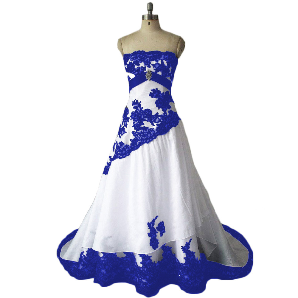 Wedding Dresses,Royal Blue Wedding Dresses,Taffeta Wedding