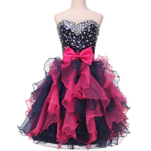 bd34cb49c87 Strapless Sweetheart Beaded Ruffle Organza Short Homecoming Dress ...