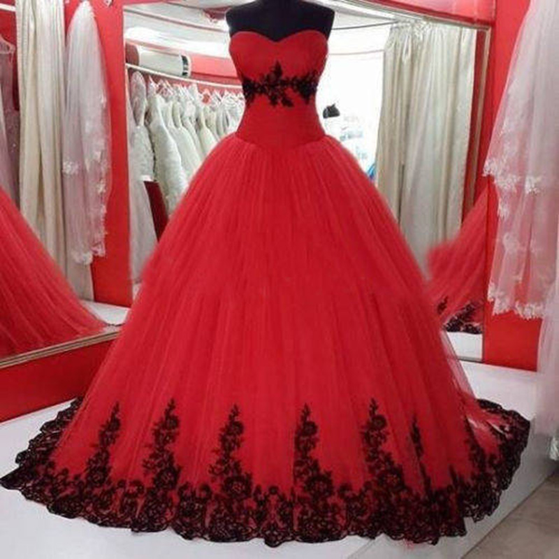 Red Quinceanera Dresses For 15 Years Cheap Tulle