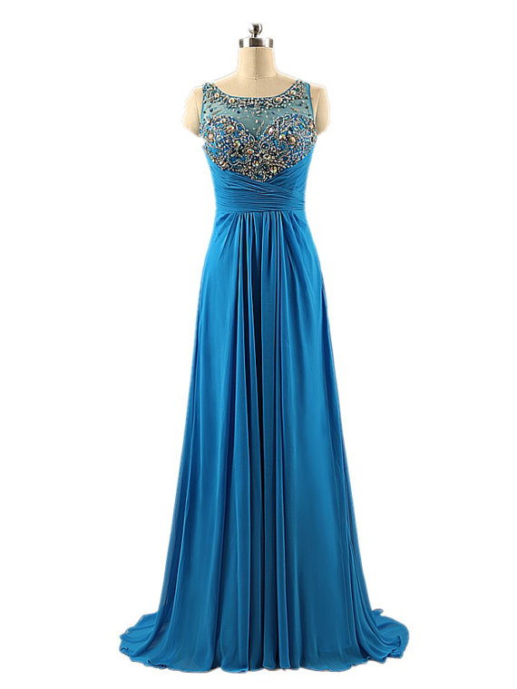Blue Strapless Backless Floor Length Chiffon Prom Dress with Sheer Neckline and Rhinestones Bodice