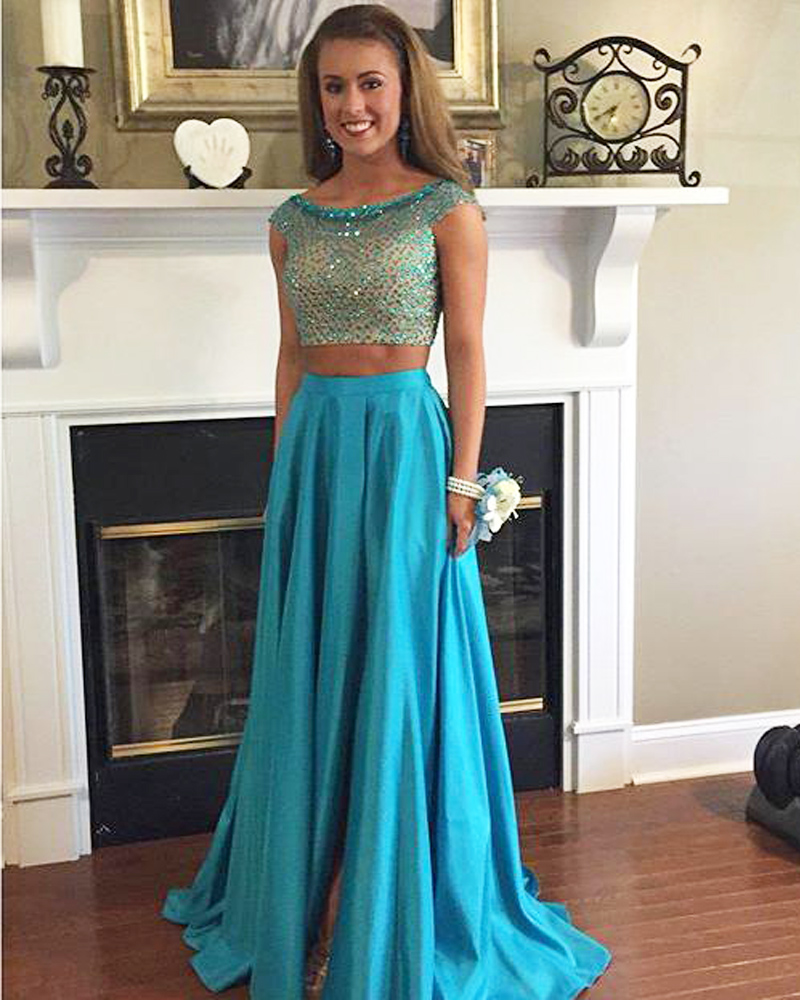 Charming Light Blue A Line Prom Dresses Satin Two Piece Evening