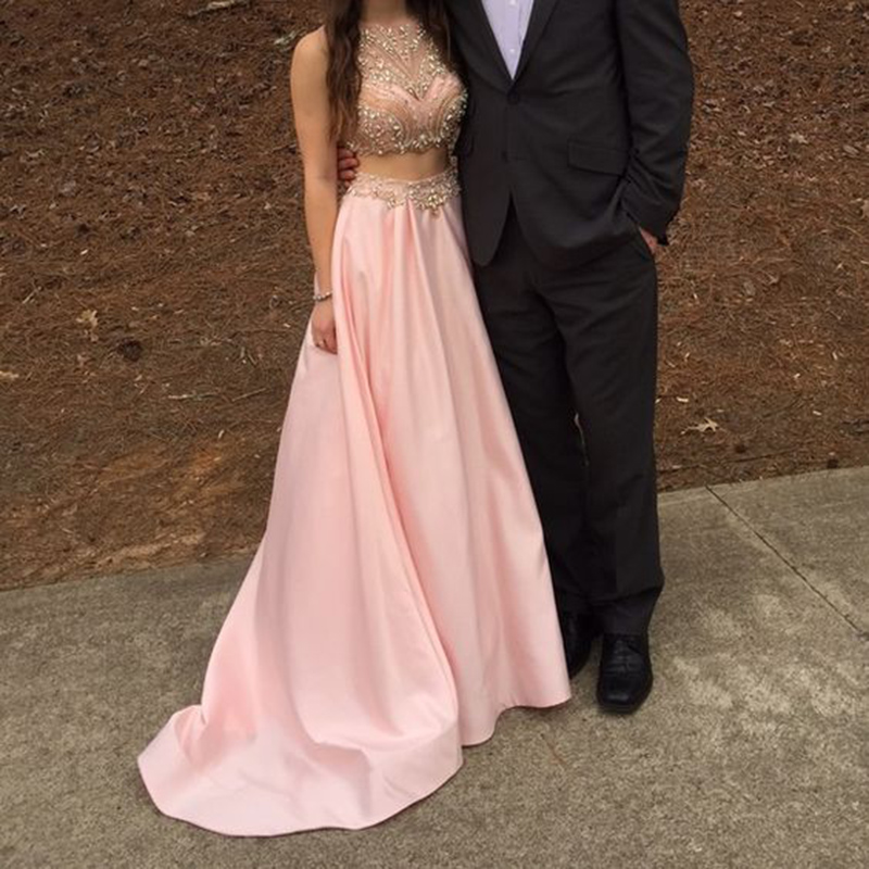 Elegant Pink Two Piece Prom Dresses Long Satin Evening Gowns ...