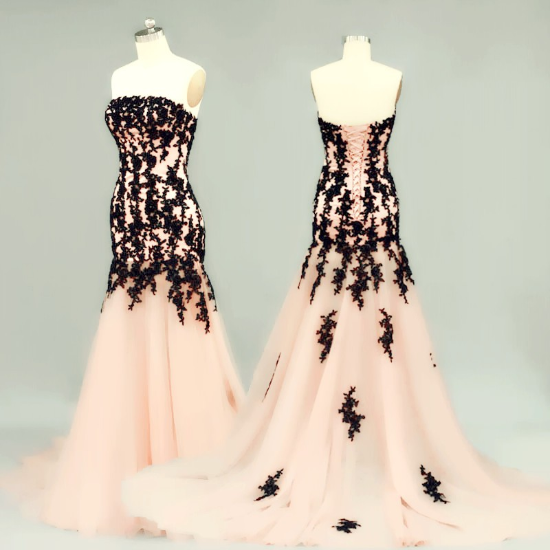 Charming Trumpet Pink Evening Dresses Lace Applique Strapless Long Elegant Prom Dress Robe De Soiree Formal Gowns