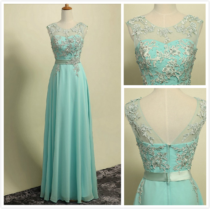Long Mint Green Chiffon Formal Dresses Showcases Lace Bodice And Sheer Neck - Long Elegant Prom Dresses, Charming Evening Gown