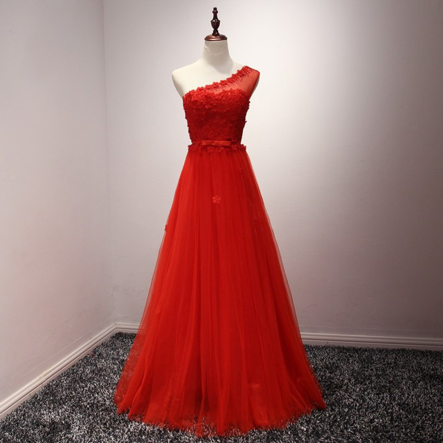 Long Red Tulle Formal Dresses Featuring Floral One Shoulder And Bow Accent Belt -- Long Elegant Prom Dress, Sexy Floral Evening Gown