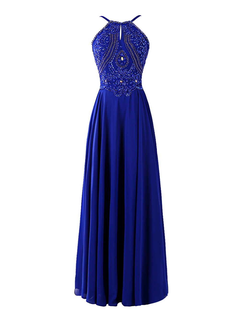 Sexy Royal Blue Chiffon Strapless Formal Dresses With Jewel-embellished Bodice , Long Elegant Prom Dress
