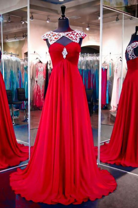 Red Scoop Beaded Ruched Chiffon A-line Long Prom Dress, Evening Dress