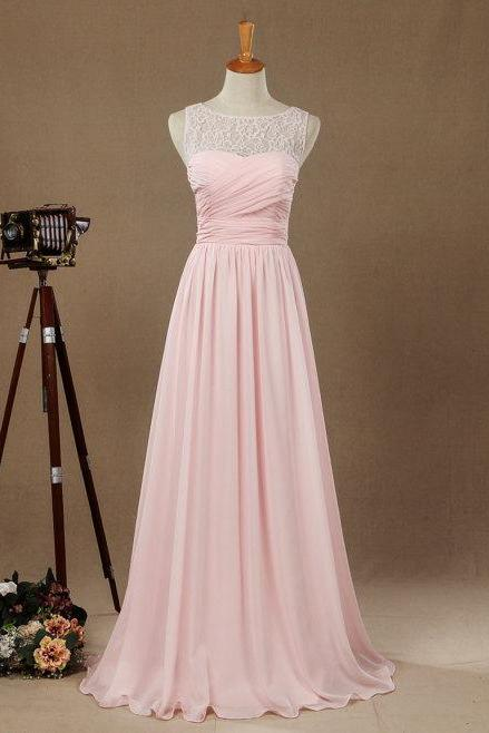 Sexy Pink Evening Dresses With Lace Bodice Sheer Neck Chiffon Prom Party Dress Robe De Soiree Formal Gowns