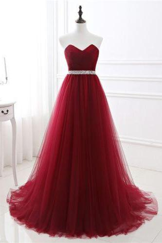 Burgundy Tulle Sweetheart Floor Length Tulle Prom Gown Featuring Beaded Embellished Belt, Lace-Up Back and Sweep Train