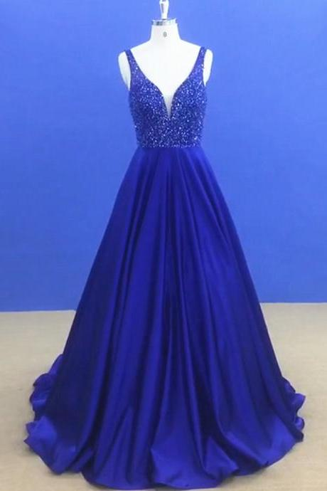Stunning Royal Blue Formal Dresses Long Satin Beaded Evening Prom Gowns With V Neck