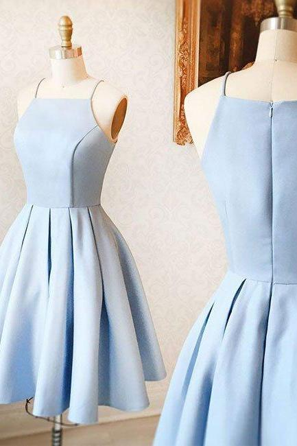2017 Sexy Short Light Blue Satin Prom Dress , Graduation Dresses 2017,Party Dresses,Short Homecoming Dresses, Short Prom Dress 2017