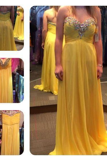 Elegant Sweetheart Yellow Bridesmaid Dresses, Beautiful Floor Length Bridesmaid Dresses, Wedding Party dresses,Formal Gowns,Prom Dresses,Evening Gowns