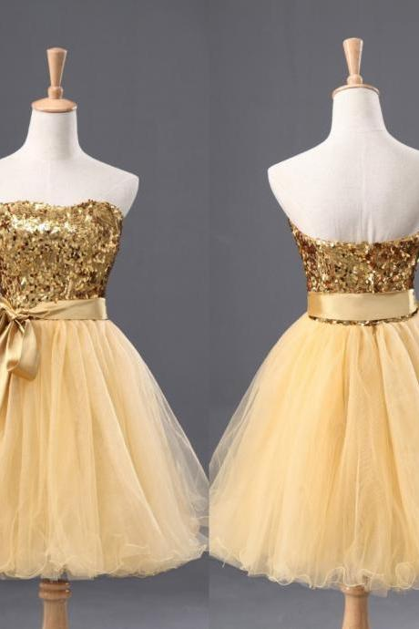 Elegant Sweetheart Yellow Short Bridesmaid Dresses, Beautiful Short Bridesmaid Dresses, Wedding Party dresses,Formal Gowns,Short Prom Dresses,Evening Gowns