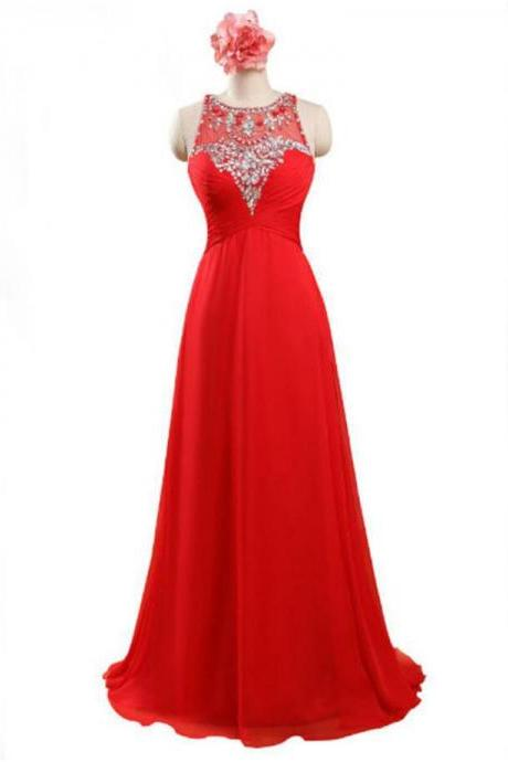 Red Floor Length Chiffon Formal Gown Featuring Sleeveless Plunge Sheer Bateau Neckline with Beaded Embellishment, Lace-Up Back