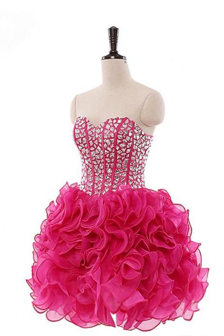 Short Prom Dress, Short Prom Gowns, Organza Short Prom Dress, Fuschia Homecoming Dresses