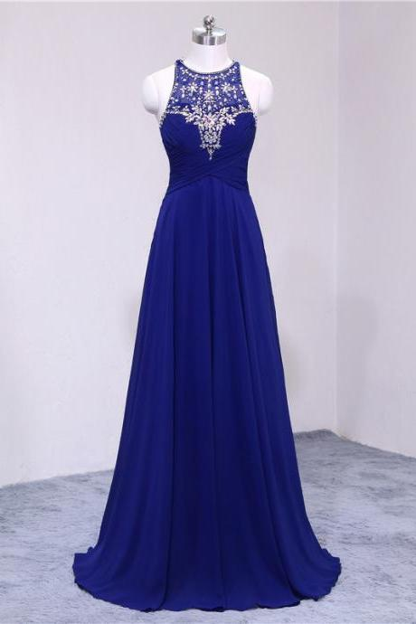 Royal Blue Beaded Embellished Halter Neck Floor Length Chiffon A-Line Formal Dress, Prom Dress