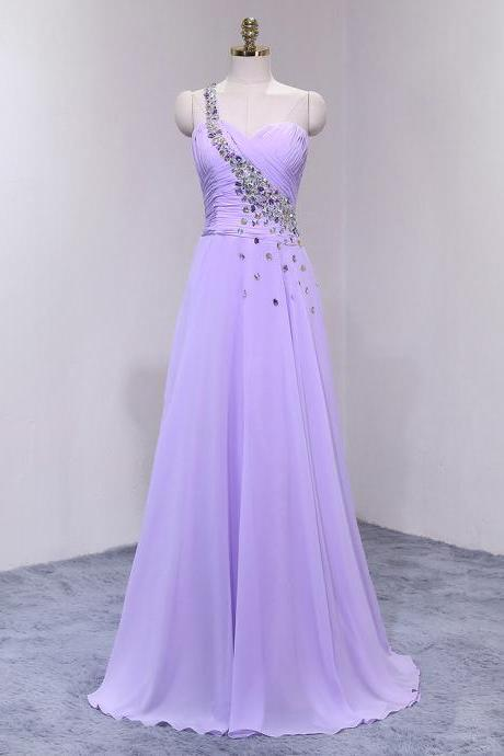 Charming Lavender Long Chiffon Formal Gown Featuring One Shoulder with Beaded Embellishment, Zipper Back