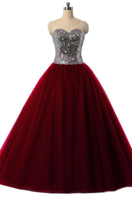 Sexy Burgundy Quinceanera Dresses Ball Gown For 15 Years Prom Party Dress