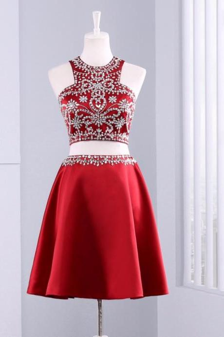 Cute Short 2 Piece Red Evening Dress , Graduation Dresses 2017,Party Dresses,Evening Dresses, Short Prom Dress 2017