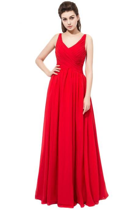 Red Prom Dresses Floor Length Chiffon V Neck Formal Dresses With Ruched Bodice