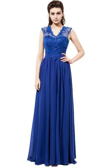 2017 New Arrival V Neck Royal Blue Chiffon Bridesmaid Dresses With Lace Bodice,Custom bridesmaid dress, Wedding Party Dresses,Long Bridesmaid Dress,Bridesmaid Dresses,Bridal Gowns