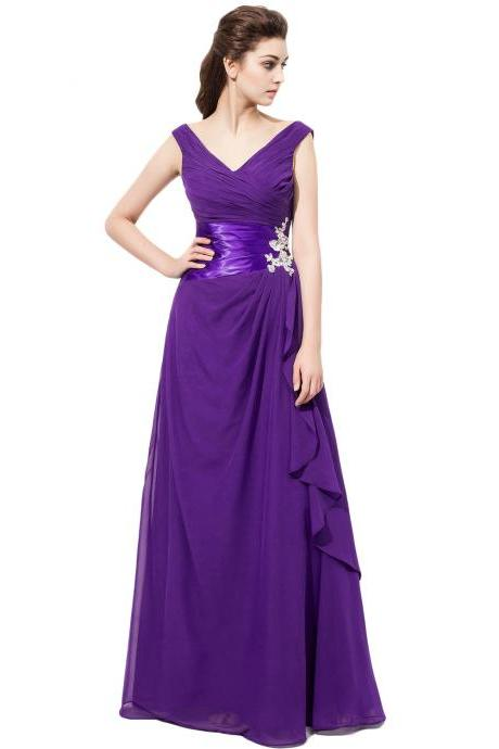 2017 New Arrival V Neck Purple Chiffon Bridesmaid Dresses With Ruched Bodice, Wedding Party Dresses,Long Bridesmaid Dress,Bridesmaid Dresses,Bridal Gowns