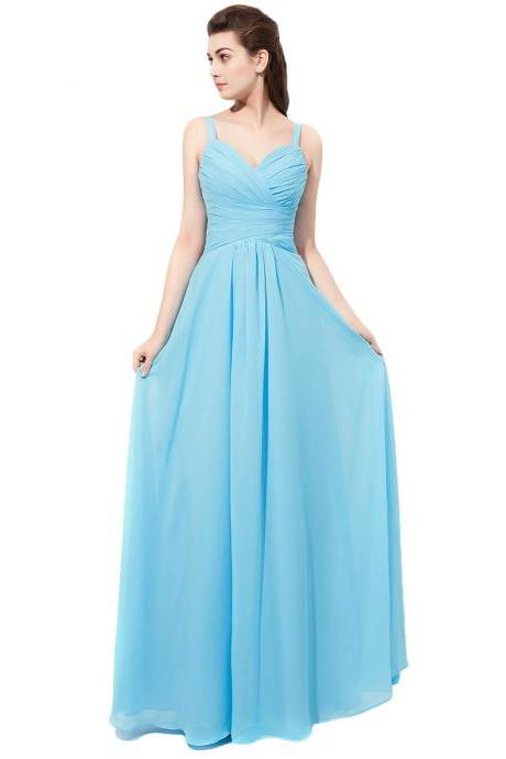 Floor Length Light Blue Bridesmaid Dresses Spaghetti Straps Vestido De Festa De Casamento Chiffon Party Dress Formal Gowns