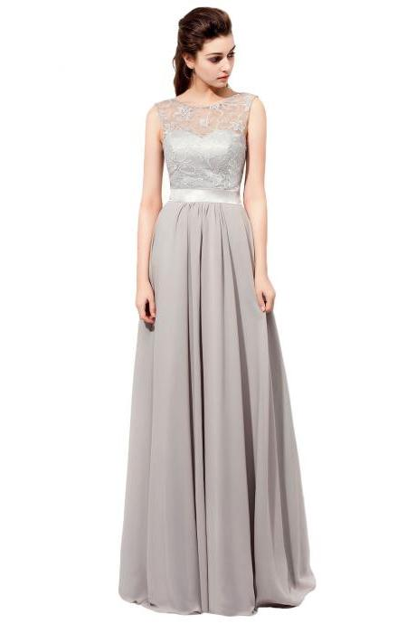 Floor Length Gray Bridesmaid Dresses Featuring Lace Sheer Bateau Neckline Vestido De Festa De Casamento Chiffon Party Dress Formal Gowns