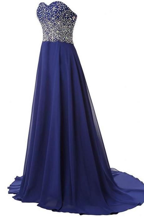 Hot Selling A Line Royal Blue Evening Dresses Chiffon Sweetheart Long Elegant Prom Dress Robe De Soiree Formal Gowns
