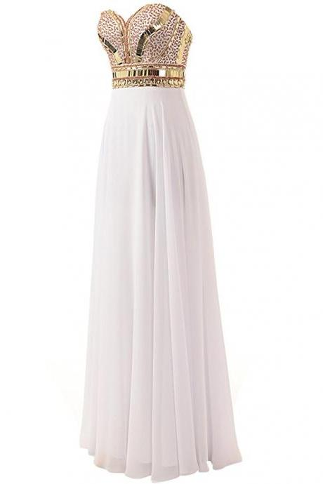 Strapless Sweetheart Metallic Beaded A-line White Floor-Length Evening Dress, Prom Dress