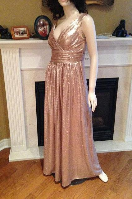 Long Champagne gold v neck sequin bridesmaid dress, cowl back sequin dress