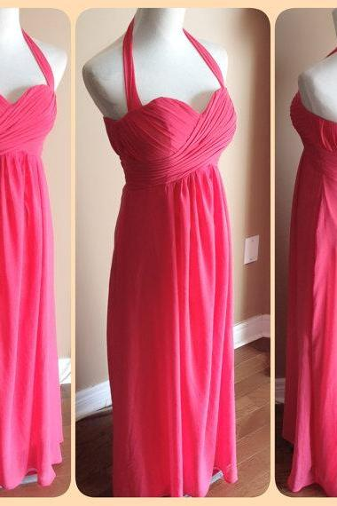 Floor Length Halter Hot Pink Bridesmaid Dress,Long Pink Chiffon Bridesmaid Dresses,Elegant Cheap Prom Dresses Party Evening Gown