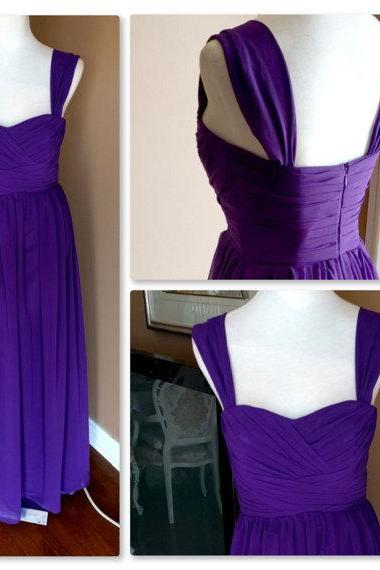 Floor Length Spaghetti Straps Purple Bridesmaid Dress,Purple Chiffon Bridesmaid Dresses,Elegant Cheap Prom Dresses Party Evening Gown