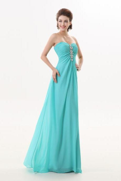 Sexy Turquoise Long Sweetheart A Line Formal Evening Special Occasion Dresses Strapless Beaded Prom Dresses Robe De Soiree