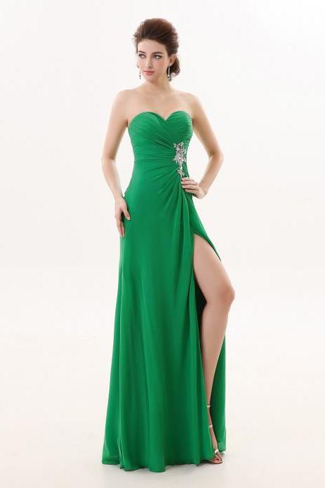 Strapless Sweetheart Sheath Green Bridesmaid Dress,Floor Length Side Split Zipper Bridesmaid Dresses,Elegant Long Cheap Prom Dresses Party Evening Gown