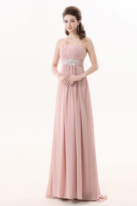 Sexy Flesh Pink Chiffon Bridesmaid Dress,Floor Length A Line Strapless Bridesmaid Dresses,Sexy Long Cheap Formal Dresses Party Gown