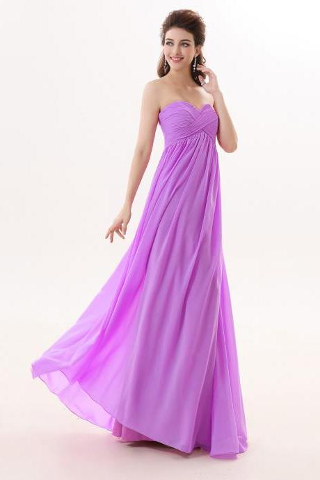 Sexy Light Purple Chiffon Bridesmaid Dress,Floor Length A Line Sweetheart Bridesmaid Dresses,Simple Long Cheap Formal Dresses Party Gown