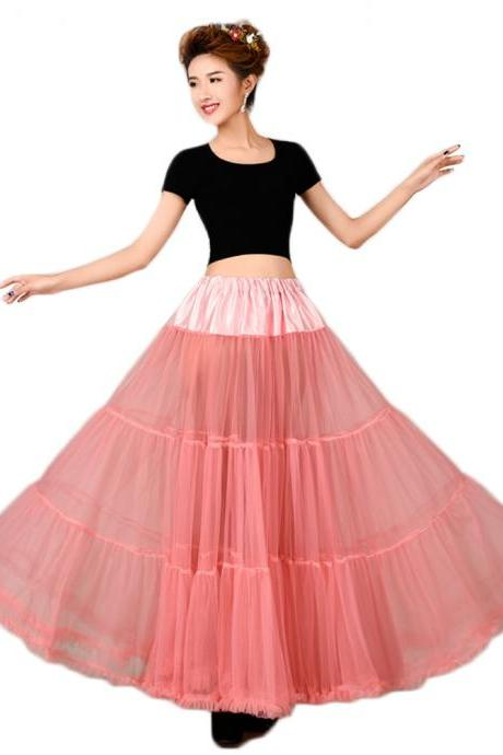 Coral New Tulle Skirt Floor Length Tulle Female Tutu Skirts Womens Vintage Lolita Petticoat Underskirt Skirts