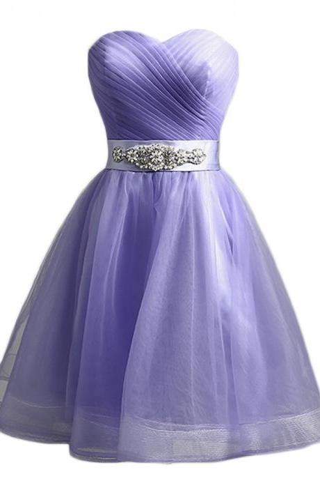 Sexy Sweetheart Light Purple Tulle Short Prom Dress 2017, Party Dress,evening dress 2017 cocktail dress homecoming dress