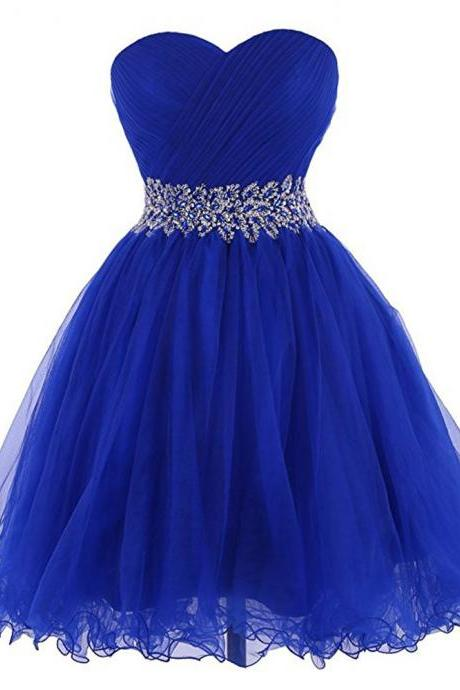 Fast Shipping Royal Blue Beaded Homecoming Dress With Sweetheart Neckline,Sexy A Line Cheap Short Prom Dresses, Mini Party Evening Formal Gowns