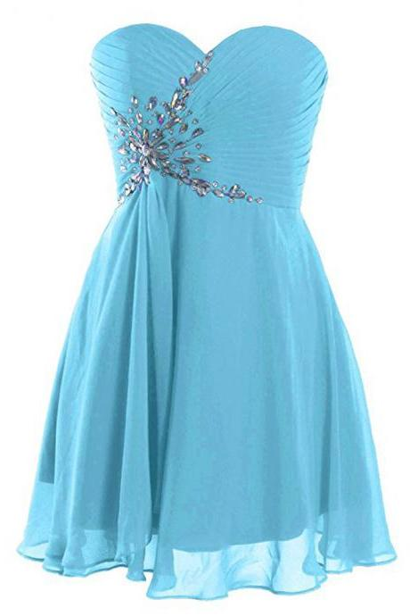 Light Blue Rhinestone Chiffon Homecoming Dress With Sweetheart Neck,Sexy A Line Cheap Lace-up Short Prom Dresses, Mini Party Evening Formal Gowns
