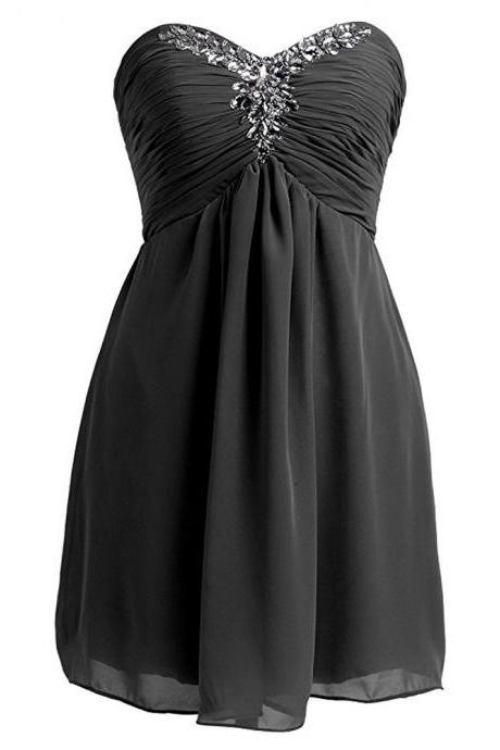 Black Ruched Chiffon Sweetheart Short A-Line Homecoming Dress Featuring Beaded Embellishments