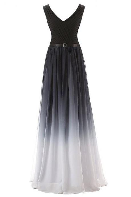 Floor Length Muti Color Chiffon Formal Dresses Featuring Belt - Long Elegant Prom Dress, Sexy V Neck Evening Gowns