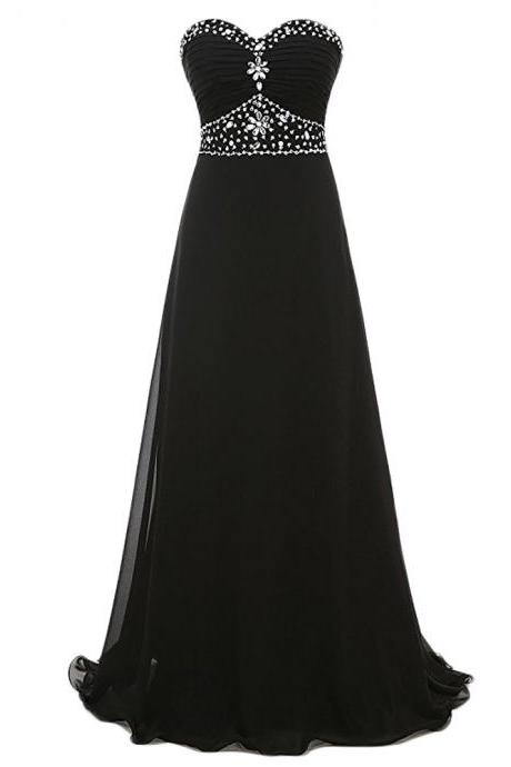 Eyecatching Black A Line Prom Dresses Sweetheart Neckline Beaded Chiffon Prom Gowns 2017 Party Evening Dress For Women