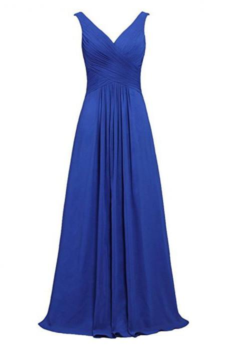 Long Royal Blue Bridesmaid Dress,Floor Length Chiffon V Neck Bridesmaid Dresses,Elegant Long Cheap Beaded Prom Dresses Party Evening Gown